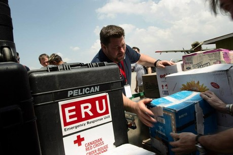 Supplies for the emergency field hospital arrive in Nepal
