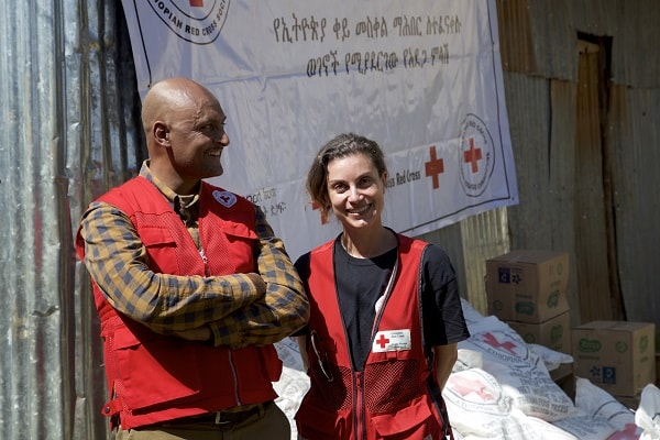 a.	Red Cross partners are working together to deliver supplies, including food and household items, to communities affected by conflict in southern Ethiopia. Left to right: Hailu Debebe, Ethiopia Red Cross Society and Norine Naguib, Canadian Red Cross Field Coordinator in Ethiopia.