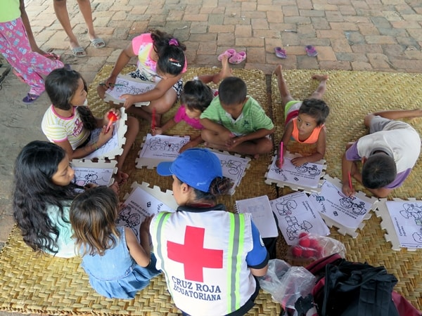Ecuador Red Cross psychosocial intervention for children at a mobile clinic