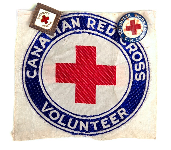Red Cross Volunteer Armband and Pins