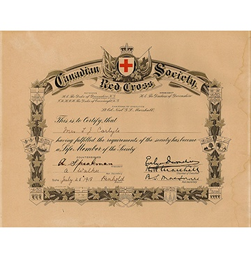 Canadian Red Cross Life Membership Certificate 1918