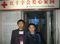 "Red Cross volunteers working at the Red Cross ""Drop-in"" Centre in Deyang of Sichuan Province."