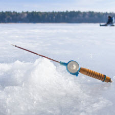 ice and fishing pole