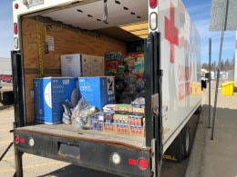 Red Cross truck loaded at Walmart