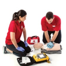 First Aid CPR instructors with materials