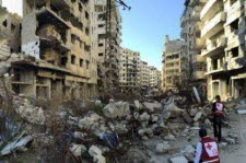 War zone image of exploded buildings