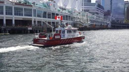 Boat with Canadian flag