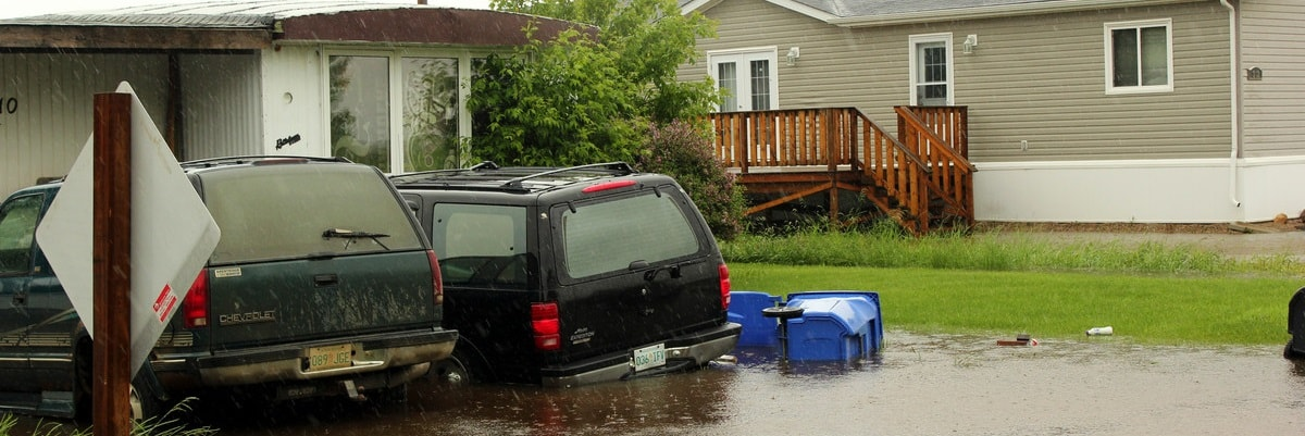 Two vehicles in a flooded driveway