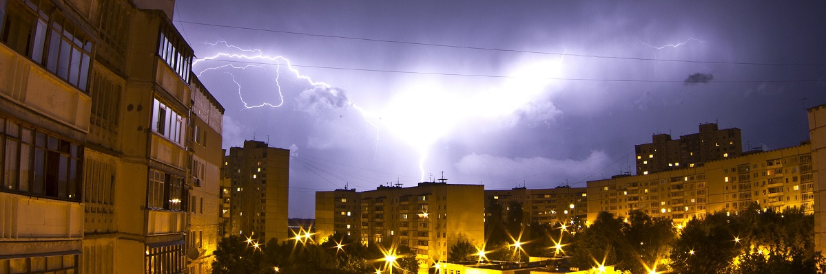 A large lightning strike in the night