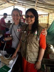 Dr. Ola Dunin-Bell, left, was deployed with the Canadian Red Cross mobile field clinic in Bangladesh
