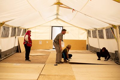 The field hospital is set up in Al-Hol camp