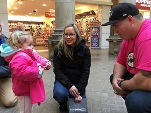 Saskatchewan Roughrider Dan Clark in Cornwall Mall promoting Pink Day