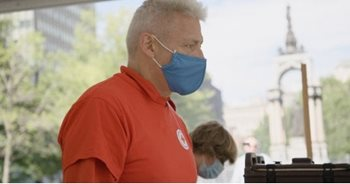 Pictured here in a mask, Pierre Paquet has been a Red Cross response volunteer since October 2019.