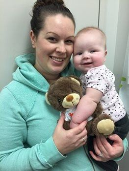 Kim and Tenley who holds her new teddy bear