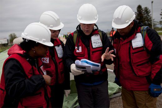 Red Cross international aid workers on the field