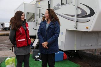 After returning to Fort McMurray, Leonie and her husband moved their trailer into a temporary RV site.