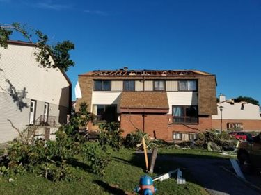 Roof damage after the tornado