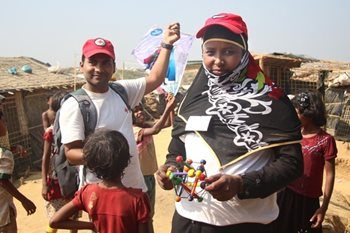 Volunteers providing psychosocial support in Bangladesh camps