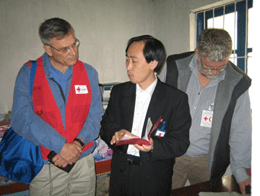 Canadian Red Cross workers in the Democratic People's Republic of Korea