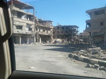 Seeing destruction throughout the besieged city