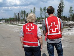 Canadian Red Cross volunteers prepare to help at a disaster site.