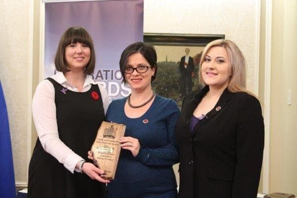 MLA Nicole Goehring, Red Cross – Alberta, Manager of Education, Daniela Rojas, Respect Education Coordinator, Krista Hauffe