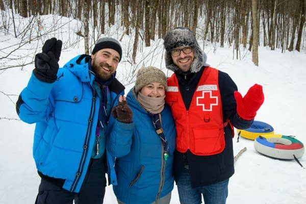 Nicola, an accompanying dad, Nadia Tooma, organizer, and Carl Boisvert of Red Cross